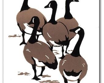 Canada Geese Block Print Note Card