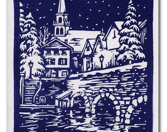 Town in Winter Handmade Block Print Holiday Card