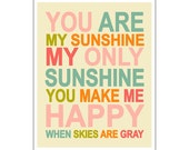 Children's Wall Art / Nursery Decor  You Are My Sunshine... 16x20 inch print by Finny and Zook