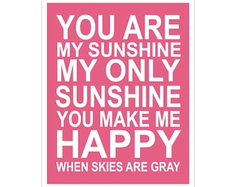 SALE ****** Children's Wall Art / Nursery Decor You Are My Sunshine... 8x10 inch print by Finny and Zook