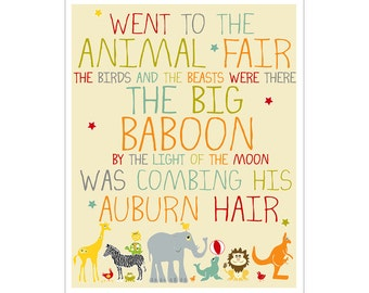 Kids Wall Art Nursery Decor Animal Fair print by Finny and Zook