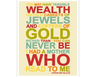 Children's Wall Art / Nursery Decor The Reading Mother quote 11x14 inch print by Finny and Zook