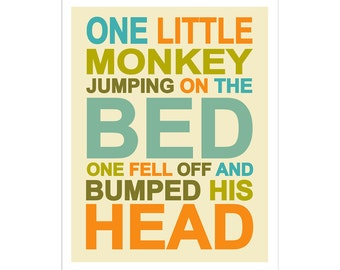 Children's Wall Art / Nursery Decor One Little Monkey 8x10  inch print by Finny and Zook