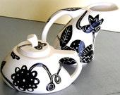 ceramic cream and sugar set black and white floral graphics