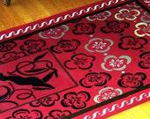 home decor rug  floorcloth floor cloth mat runner persian rug red custom orders art for the floor
