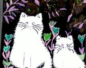 art print giclee animals white cats Mom and Daughter with purple background