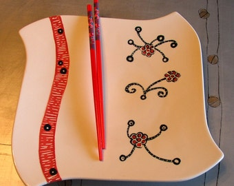 ceramic plate sushi plate with chopsticks dancing flowers ceramic large plate white teal and red