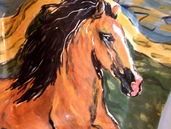 ceramic wall pocket- golden brown horse on a glorious day surprise SALE