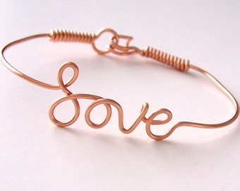 LOVE Bracelet . Love Wire Bracelet . Made with a single piece of Wire . Wire Name Jewelry