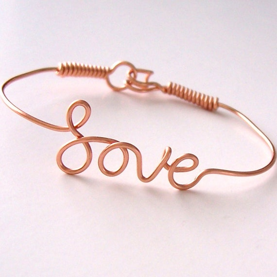 Love Bracelet . Wire Name Bracelet with your favorite NAME or WORD . Name Bracelet . Personalized Bracelet . Wire Name Jewelry