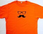 ON SALE - Moustache and Glasses T Shirt - Unisex Medium, screen print, Ray Bans, Wayfarers, orange t shirt