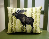 Moose Screen Print Pillow, yellow and green fabric, silkscreen