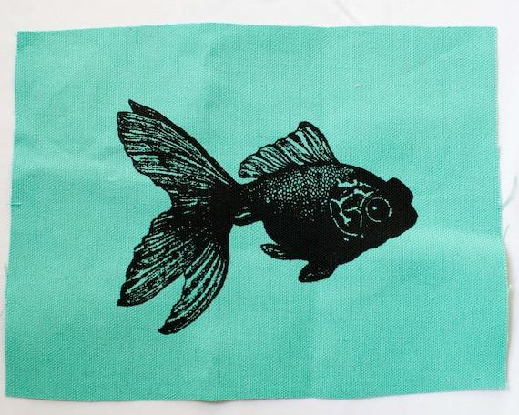 Koi fish patch screen print silkscreen goldfish by for Koi fish print fabric