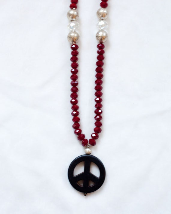 SALE - Peace Sign Necklace, Chinese Glass Beaded Necklace, Elegant long necklace, One of a Kind
