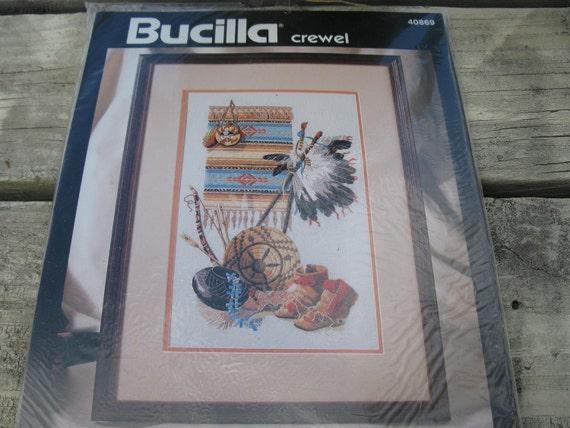 Bucilla NATIVE HERITAGE Crewel Embroidery KIT headdress, boots, blanket
