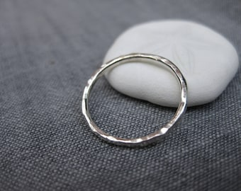 Hammered silver stack or toe ring