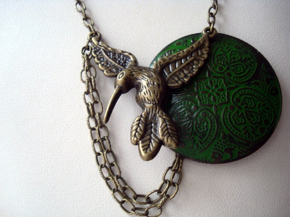 Hummingbird in Flight Necklace