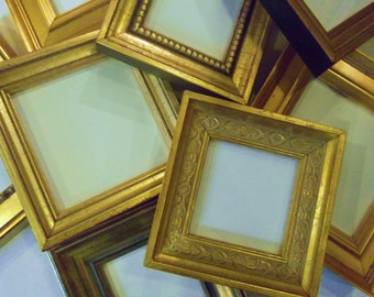 Lot of 6 Small Gold Picture Frames TO HANG