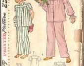 Simplicity 2599 Vintage Girls Pajama Pattern Size 14