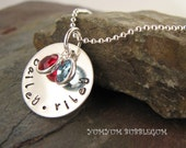 Mothers Joy Handstamped Single Charm Sterling Silver Disc Charm Necklace with Birthstones