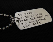 Sterling Silver Handstamped Dog Tag Necklace With Black  Leather Cord Or Military Style Ball Chain