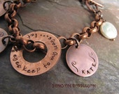 Handstamped Copper Charm Bracelet with Coin Pearl Accent