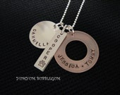 Triple Mixed Disc Handstamped Sterling and Copper Necklace