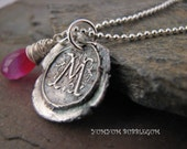 Fine Silver Vintage Wax Seal Initial Pendant with Chalcedony Accent Charm