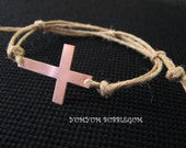 Handstamped Copper Cross Hemp Cord Bracelet