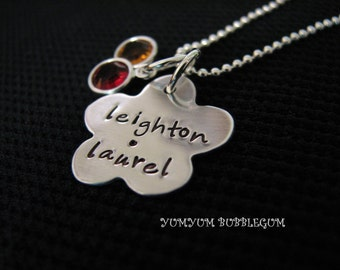 Handstamped Sterling Silver Flower Charm Necklace with Birthstones