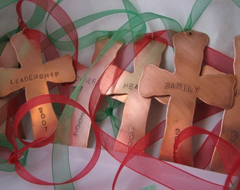 Handstamped Copper Cross Christmas Ornament