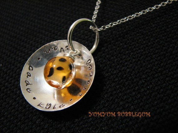 Handstamped Sterling Silver Dome Necklace With Leopard Print Glass Bead Accent