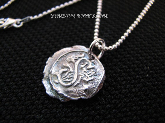 Fine Silver Vintage Wax Seal Initial Pendant Necklace