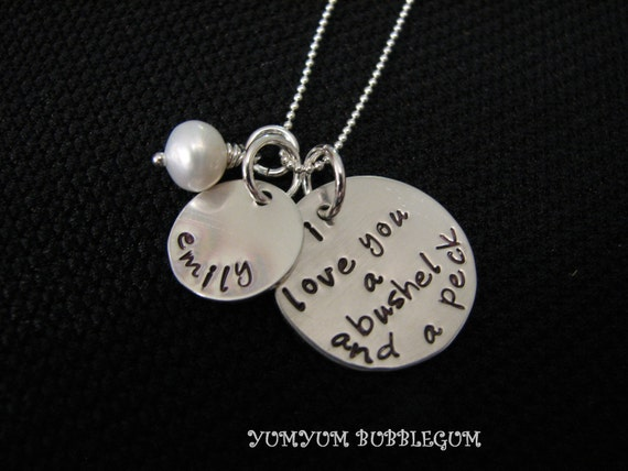 Double Tag Handstamped I Love You A Bushel and a Peck Sterling Silver Necklace With Pearl or Birthstone Accent