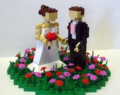 Custom LEGO Wedding Cake Topper Bride and Groom in Flower Patch