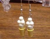 Mini Vanilla Ice Cream Cone Dangle Earrings