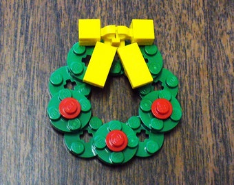 Custom Christmas Wreath Pin with Yellow Bow