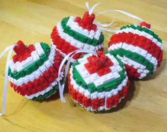 Set of 4 Red and Green Ball Ornaments