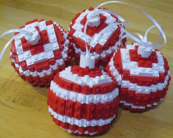 Set of 4 Red and White Ball Ornaments