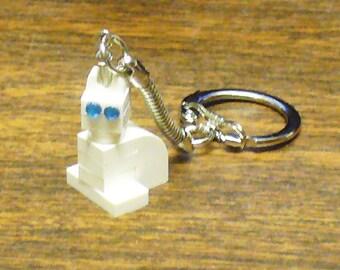 Mini White Cat Keychain