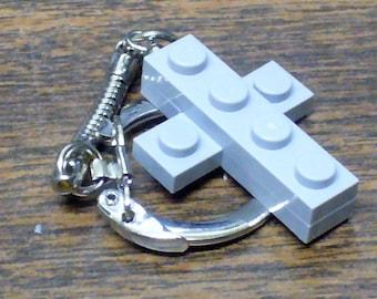 Mini Light Grey Cross Key chain