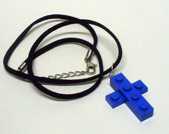 Mini Blue Cross Pendant and Necklace