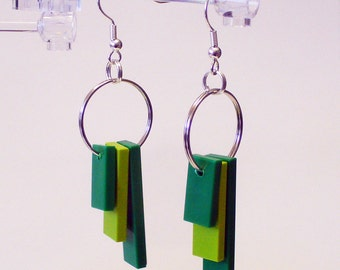 Triple Green Tile Dangle Earrings