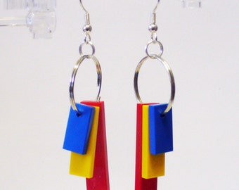 Triple Red, Yellow and Blue Tile Dangle Earrings
