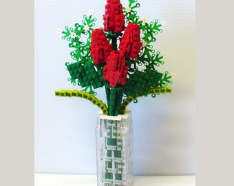 Custom Bouquet of Red Rosebuds and Baby's Breath