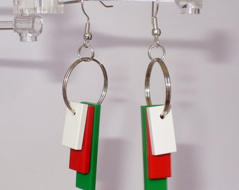 White, Red and Green Tile Dangle Earrings