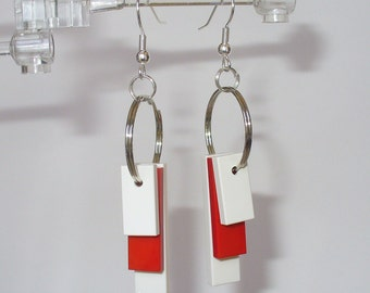 White and Red Tile Dangle Earrings