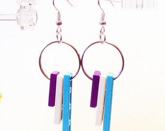 Purple, White and Azure Tile Dangle Earrings