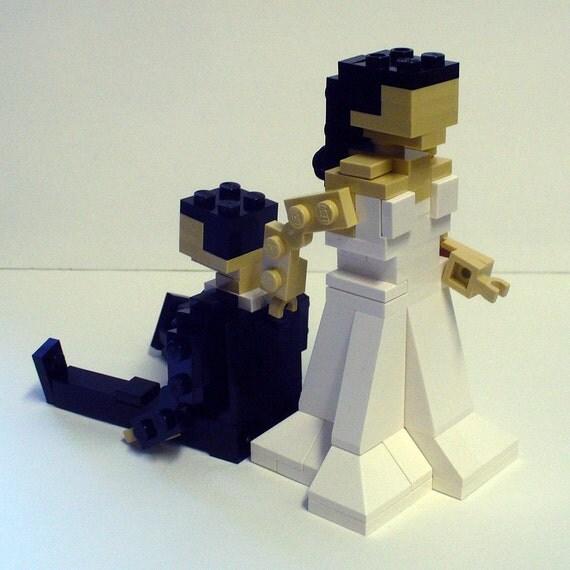 Lego Wedding Altar: Custom Bride Dragging Groom Wedding Cake Topper