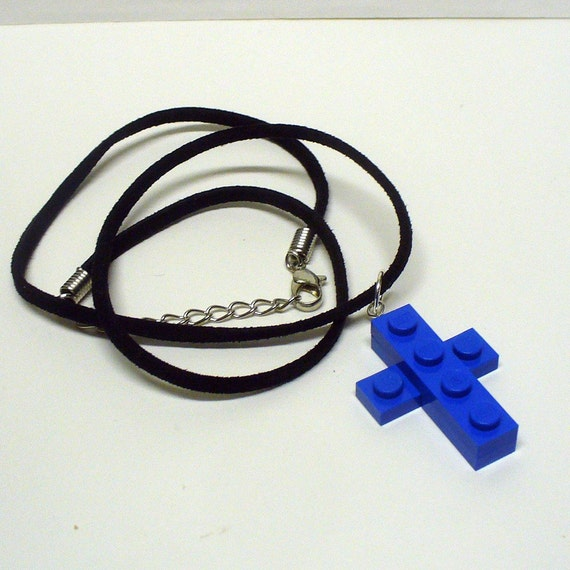 Mini LEGO Blue Cross Pendant and Necklace